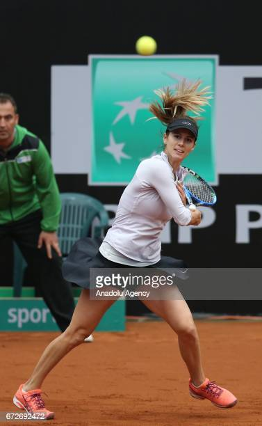 Tsvetana Pironkoca of Bulgaria in action against Basak Eraydin of Turkey during the TEB BNP Paribas Istanbul Cup women's tennis match at Garanti Koza...