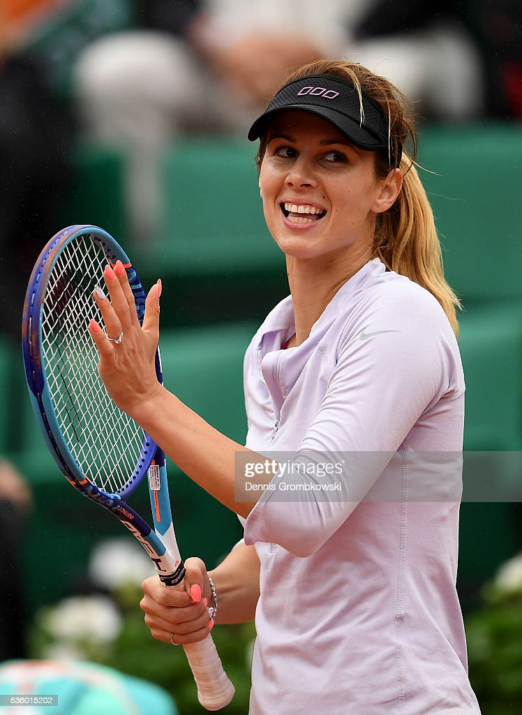 Tsvetana Pironkova of Bulgaria celebrates victory during the Ladies Singles fourth round match against Agnieszka Radwanska of Poland on day ten of the 2016 French Open at Roland Garros on May 31, 2016 in Paris, France.