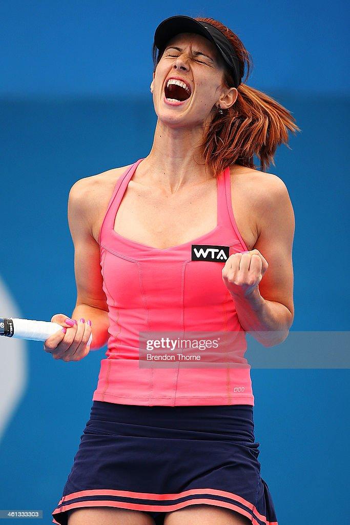 Tsvetana Pironkova of Bulgaria celebrates victory in her quarter final match against Sara Errani of Italy during day four of the 2014 Sydney International at Sydney Olympic Park Tennis Centre on January 8, 2014 in Sydney, Australia.