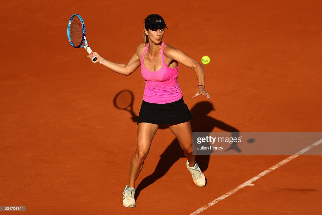 <a gi-track='captionPersonalityLinkClicked' href=/galleries/search?phrase=Tsvetana+Pironkova&family=editorial&specificpeople=600804 ng-click='$event.stopPropagation()'>Tsvetana Pironkova</a> of Bulgaria hits a forehand during the Ladies Singles third round match against Sloane Stephens of the United States on day six of the 2016 French Open at Roland Garros on May 27, 2016 in Paris, France.