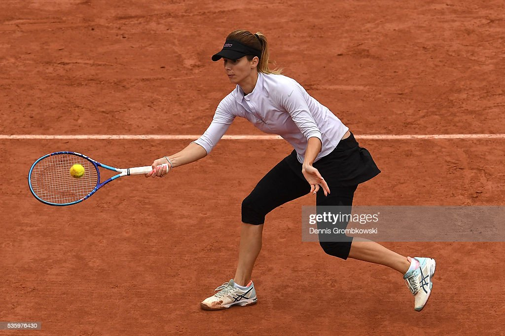 Tsvetana Pironkova of Bulgaria hits a forehand during the Ladies Singles fourth round match against Agnieszka Radwanska of Poland on day ten of the 2016 French Open at Roland Garros on May 31, 2016 in Paris, France.