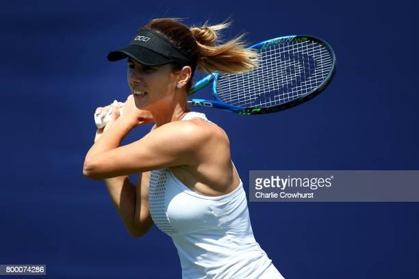 Tsvetana Pironkova of Bulgaria in action during her women's qualifying match against Marketa Vondrousova of Czech Republic during qualifying on day...