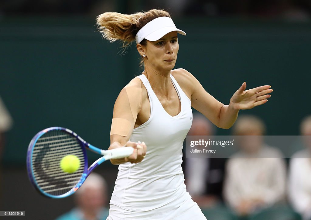 <a gi-track='captionPersonalityLinkClicked' href=/galleries/search?phrase=Tsvetana+Pironkova&family=editorial&specificpeople=600804 ng-click='$event.stopPropagation()'>Tsvetana Pironkova</a> of Bulgaria plays a forehand during the Ladies Singles second round match against Belinda Bencic of Switzerland on day three of the Wimbledon Lawn Tennis Championships at the All England Lawn Tennis and Croquet Club on June 29, 2016 in London, England.