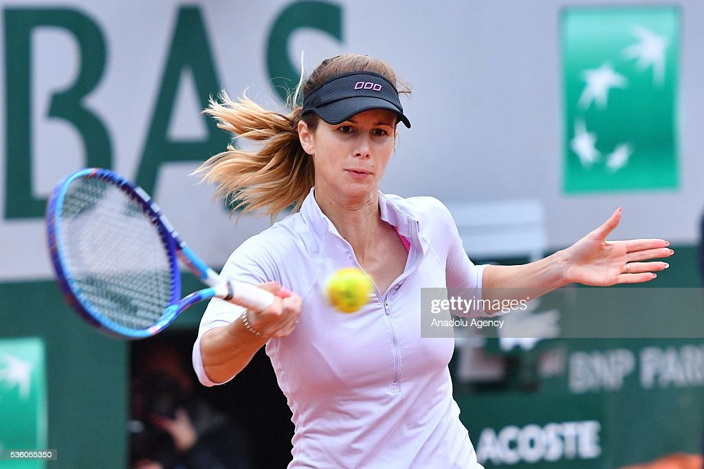 Tsvetana Pironkova of Bulgaria returns to Agnieszka Radwanska of Poland during the women's single fourth round match at the French Open tennis tournament at Roland Garros Stadium in Paris, France on May 29, 2016.