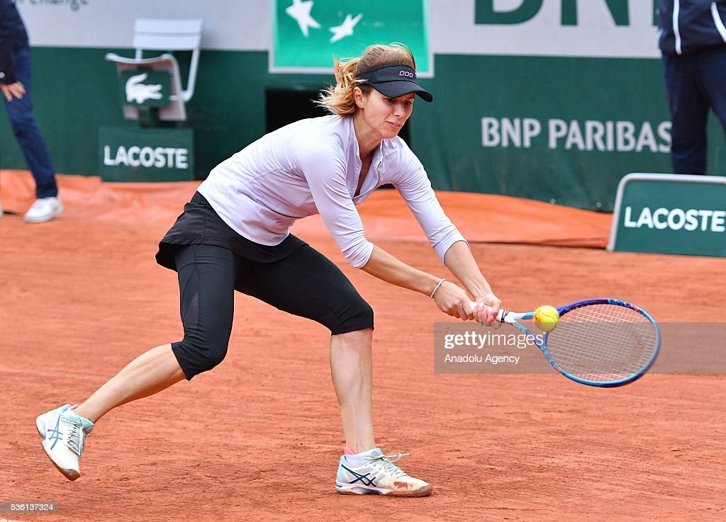 Tsvetana Pironkova of Bulgaria returns to Agnieszka Radwanska of Poland during the women's single fourth round match at the French Open tennis tournament at Roland Garros Stadium in Paris, France on May 29, 2016.