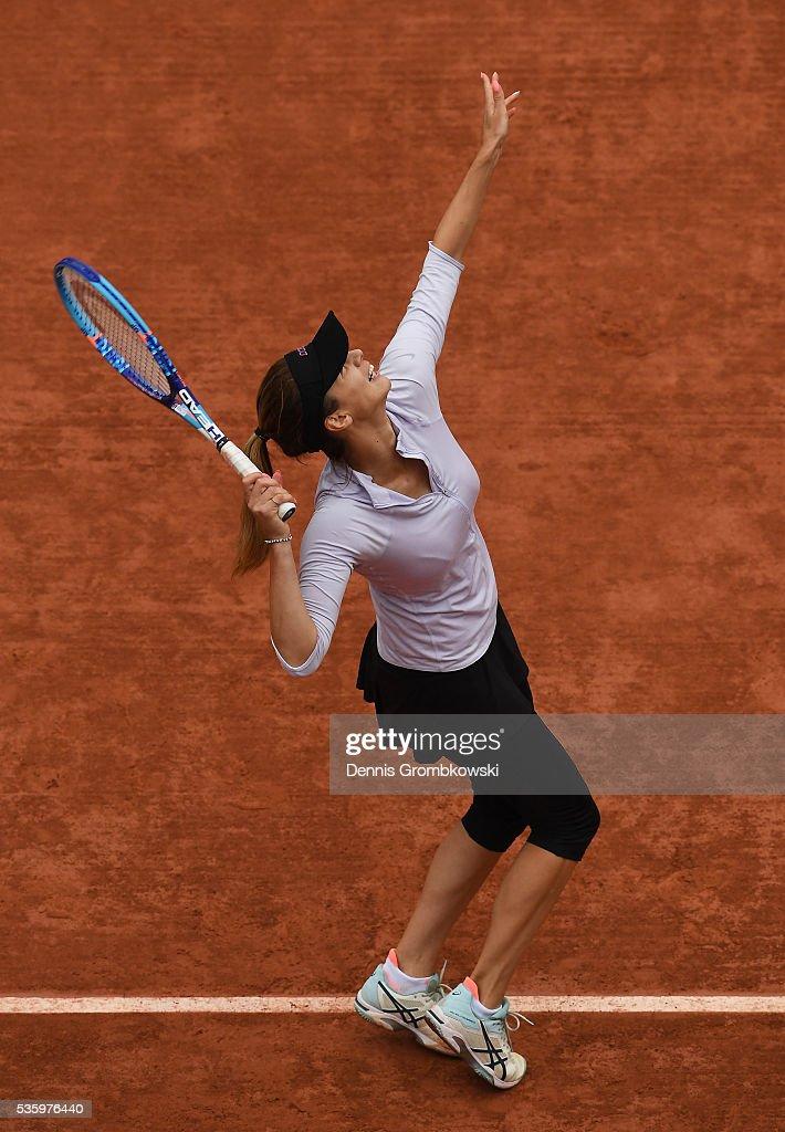 Tsvetana Pironkova of Bulgaria serves during the Ladies Singles fourth round match against Agnieszka Radwanska of Poland on day ten of the 2016 French Open at Roland Garros on May 31, 2016 in Paris, France.