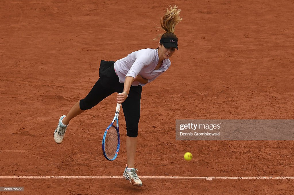 Tsvetana Pironkova of Bulgaria serves during the Ladies Singles fourth round match against Agnieszka Radwanska of Poland on day ten of the 2016 French Open at Roland Garros on May 31, 2016 in Paris, France.