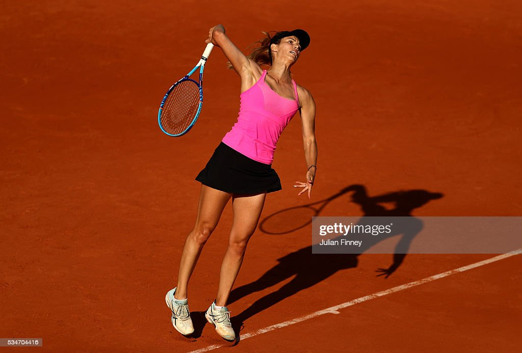 <a gi-track='captionPersonalityLinkClicked' href=/galleries/search?phrase=Tsvetana+Pironkova&family=editorial&specificpeople=600804 ng-click='$event.stopPropagation()'>Tsvetana Pironkova</a> of Bulgaria serves during the Ladies Singles third round match against Sloane Stephens of the United States on day six of the 2016 French Open at Roland Garros on May 27, 2016 in Paris, France.