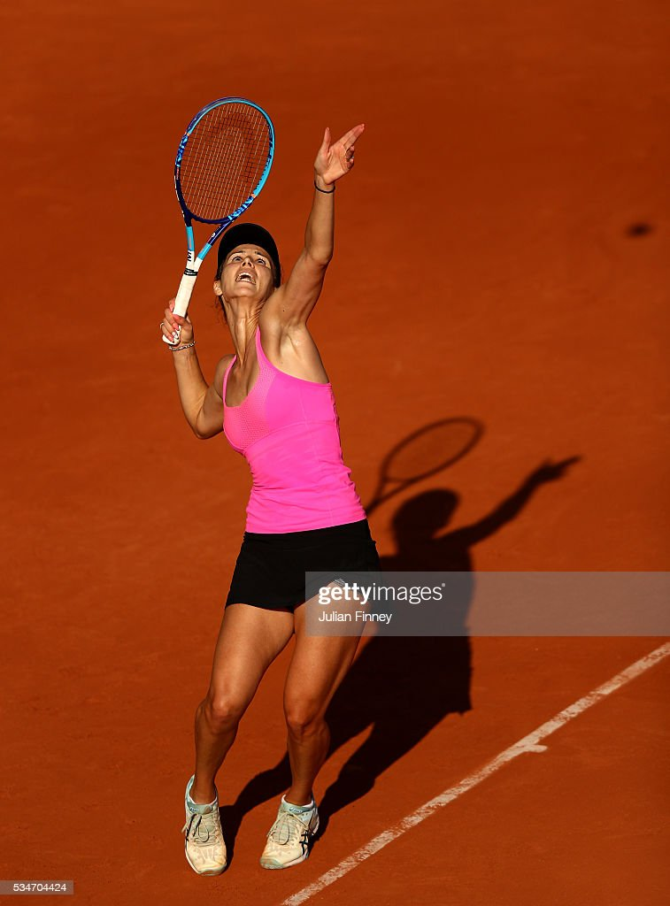 Tsvetana Pironkova of Bulgaria serves during the Ladies Singles third round match against Sloane Stephens of the United States on day six of the 2016 French Open at Roland Garros on May 27, 2016 in Paris, France.