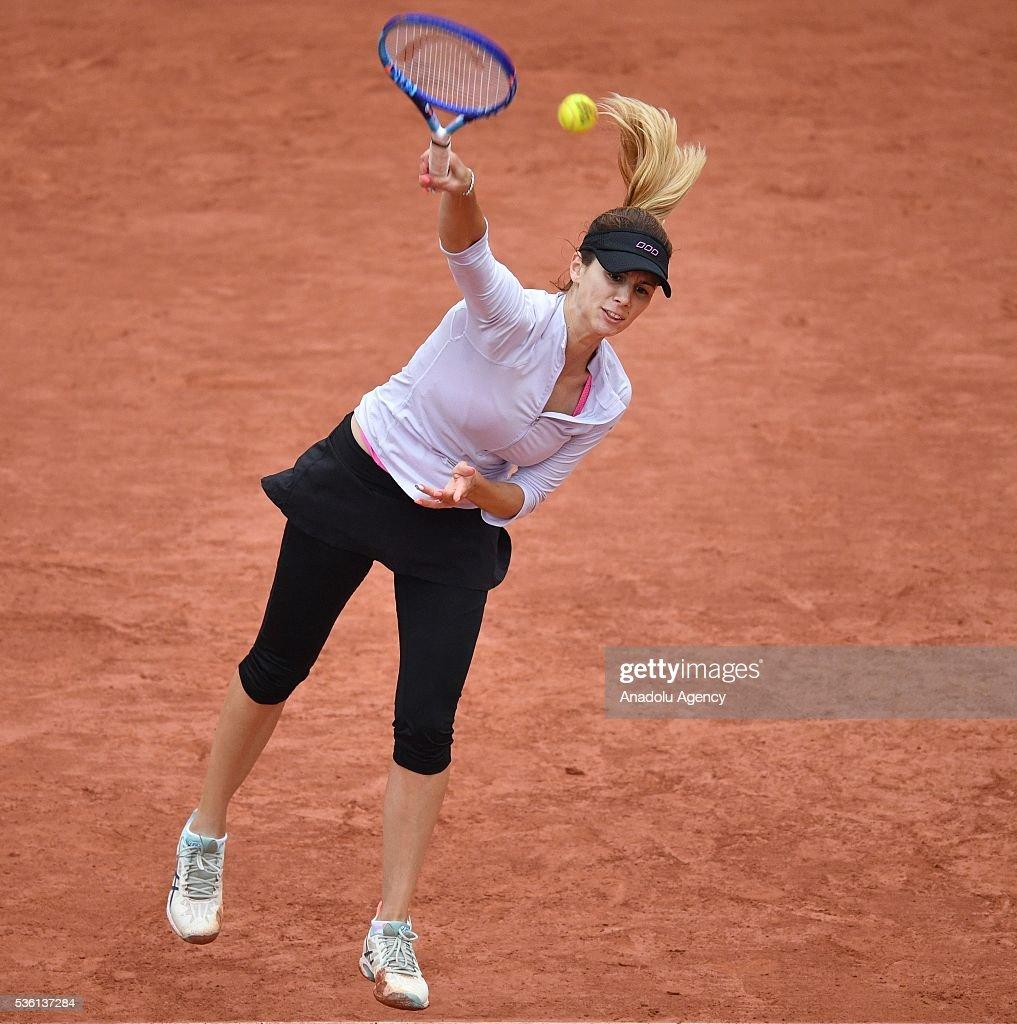 Tsvetana Pironkova of Bulgaria serves to Agnieszka Radwanska of Poland during the women's single fourth round match at the French Open tennis tournament at Roland Garros Stadium in Paris, France on May 29, 2016.