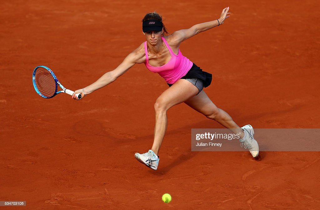 <a gi-track='captionPersonalityLinkClicked' href=/galleries/search?phrase=Tsvetana+Pironkova&family=editorial&specificpeople=600804 ng-click='$event.stopPropagation()'>Tsvetana Pironkova</a> of Bulgaria stretches to hit a forehand during the Ladies Singles third round match against Sloane Stephens of the United States on day six of the 2016 French Open at Roland Garros on May 27, 2016 in Paris, France.