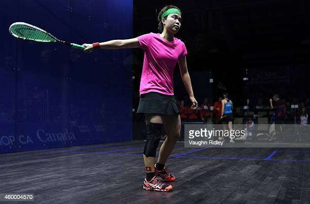 Tsz Wing Tong of Hong Kong lingers on court after losing to SarahJane Perry of England during a semifinal match at the Mark Sachvie Squash Centre at...