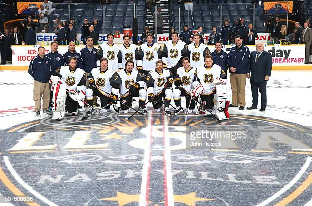 Tthe Metropolitan Division team and head coach Barry Trotz far right pose for a team photo prior to their 2016 Honda NHL AllStar Eastern Conference...