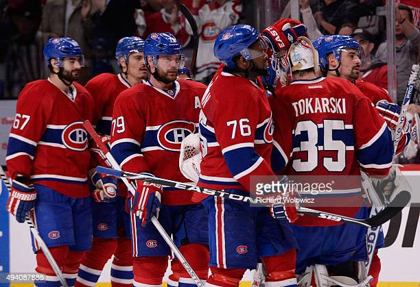 Tthe Montreal Canadiens celebrates after defeating the New York Rangers during Game Five of the Eastern Conference Final in the 2014 NHL Stanley Cup...