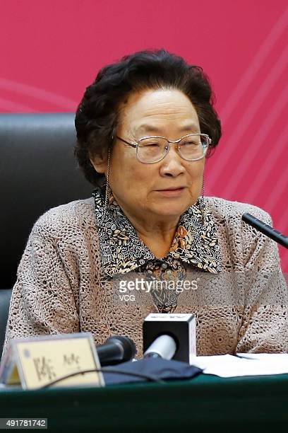 Tu Youyou attends the colloquium of congratulation after winning the 2015 Nobel Prize in Physiology or Medicine on October 8 2015 in Beijing China Tu...