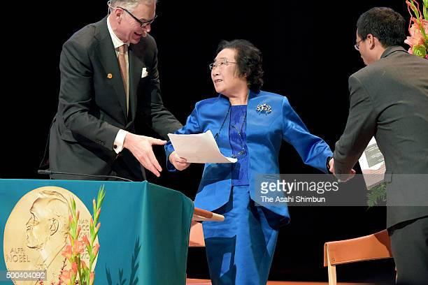 Tu Youyou attends the Nobel Lectures in Physiology or Medicine at Aula Medica Karolinska Institutet on December 7 2015 in Stockholm Sweden