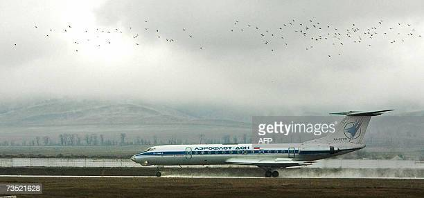 Tu134 of the AeroflotDon Airline aircraft lands at the airport in Grozny 08 March 2007 The Grozny airport received on Thursday the first airliner...