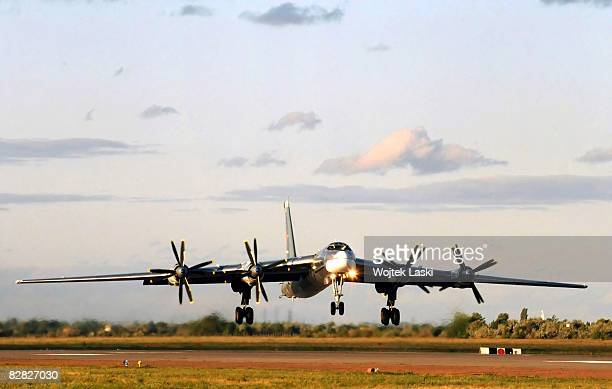 A Tu95 bomber aircraft takes off for a night patrol flies out of Engels2 airbase on August 7 2008 in Engels Russia Engels2 a strategic air base in...