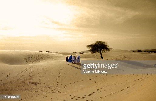 Tuareg family on their way to festival au desert