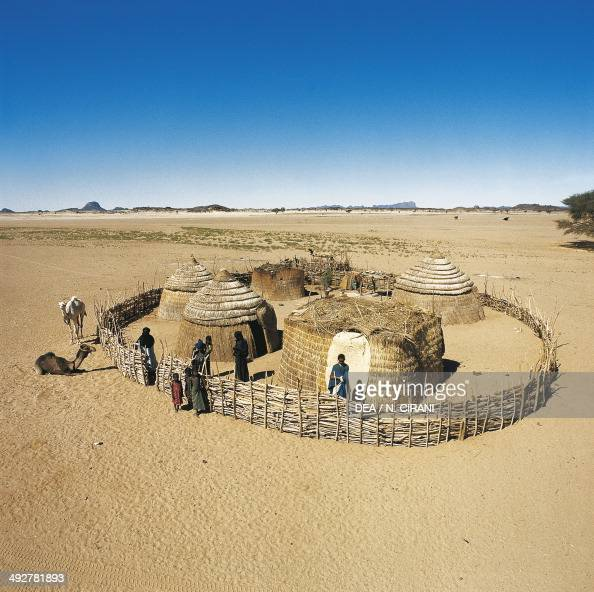 Tuareg huts in the Iferouane oasis Sahara Desert Niger