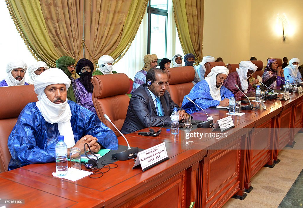 Tuareg leaders attend on June 8, 2013 a meeting on the Malian crisis in Ouagadougou, Burkina Faso. Talks between Malian authorities and armed ethnic Tuareg groups, who hold the northeastern town of Kidal, got underway on June 8 after a day's delay.