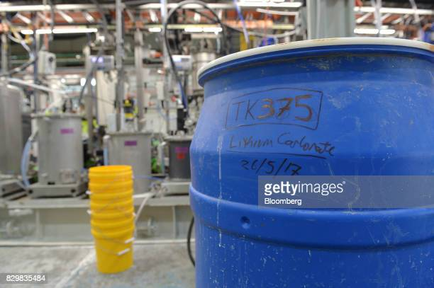 A tub of lithium carbonate sits in front of Rio Tinto Group's Bundoora Integrated Continuous Chemical Pilot Plant processing facility in Melbourne...