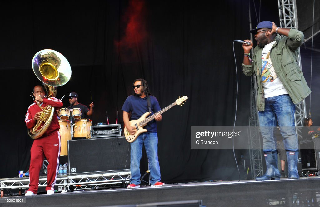 Tuba Gooding Jr, F. Knuckles, Mark Kelly and Black Thought of The Roots perform on stage during Day 3 of Bestival 2013 at Robin Hill Country Park on September 7, 2013 in Newport, Isle of Wight.
