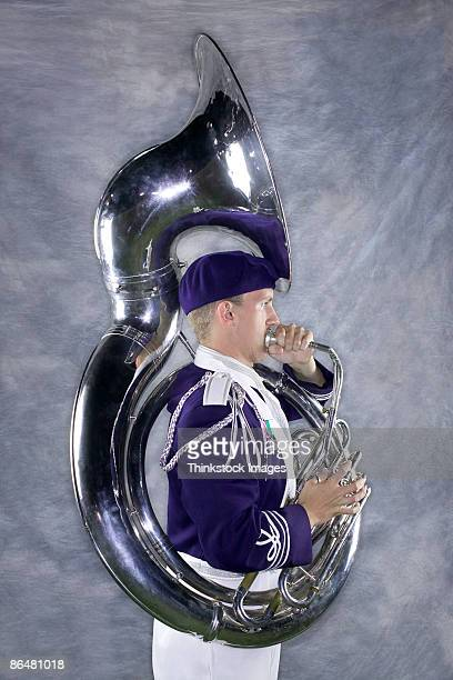 Tuba player in marching band