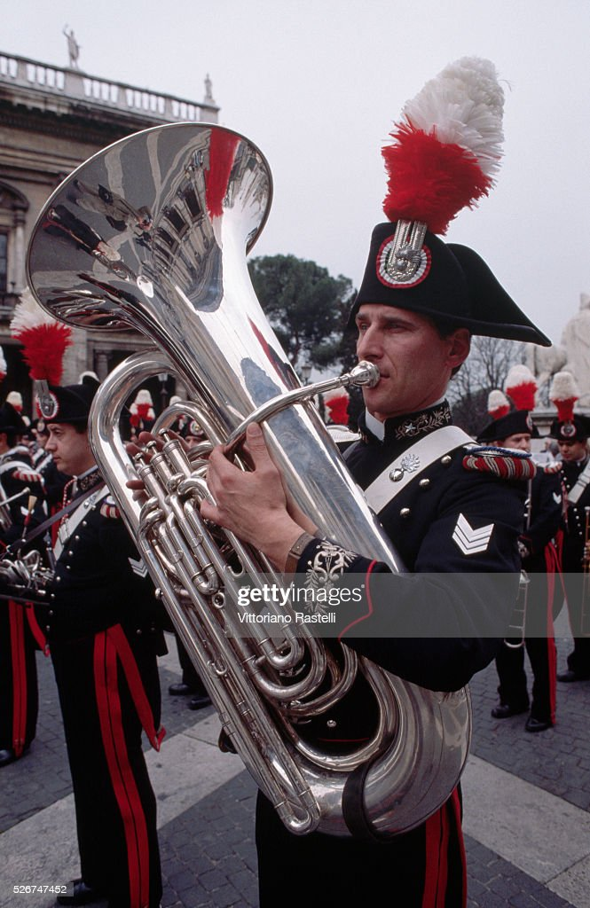 A tuba player with a carabiniere band in the Piazza del Campidoglio in Rome.