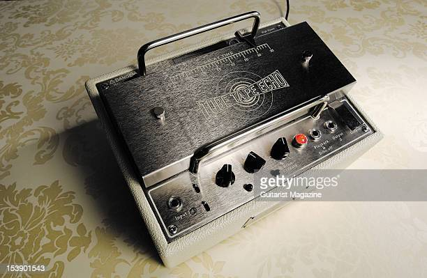 A Tube Tape Echo electric guitar effects pedal during a studio shoot for Guitarist Magazine November 25 2004
