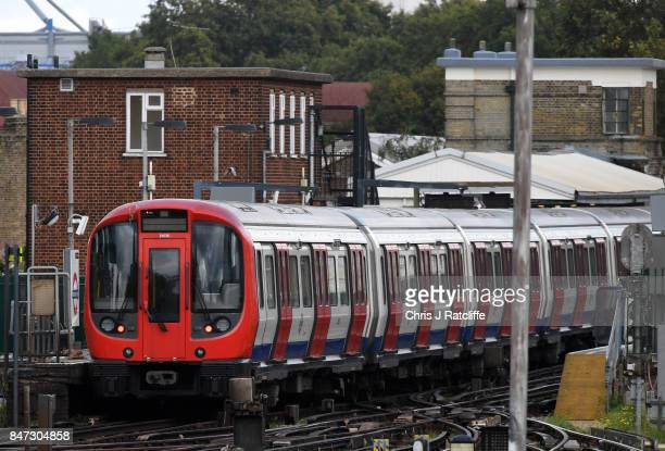 A tube train is seen stopped at Parsons Green Underground Station on September 15 2017 in London England Several people have been injured after an...