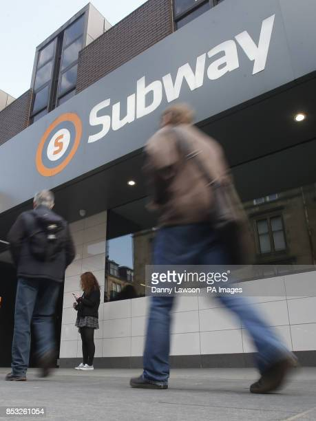 A tube train subway station in Glasgow