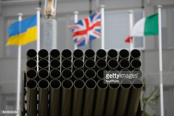 Tubes from a RM70 Multiple Launch Rocket System are seen at the 25th International Defence Industry Exhibition in Kielce Poland on 8 September 2017...