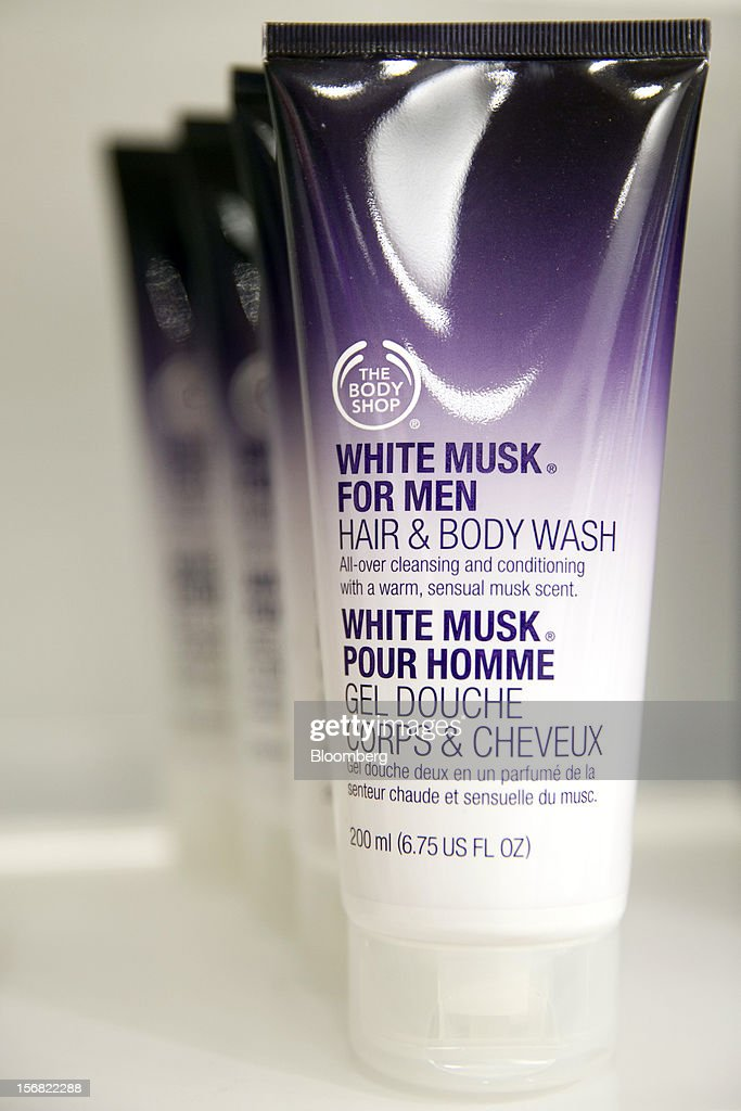 Tubes of Body Shop White Musk for Men hair and body wash is seen on display at a store in Paris, France, on Wednesday, Nov. 21, 2012. Body Shop International Plc Chief Executive Officer Sophie Gasperment has introduced organic lines and updated products like Hemp Hand Protector with Community Fair Trade ingredients after L'Oreal, the world's largest maker of cosmetics, bought the company in 2006. Photographer: Balint Porneczi/Bloomberg via Getty Images