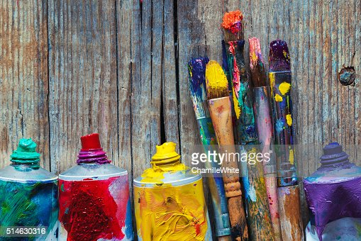 Tubes of oil paint and artist paint brushes closeup : Stock Photo