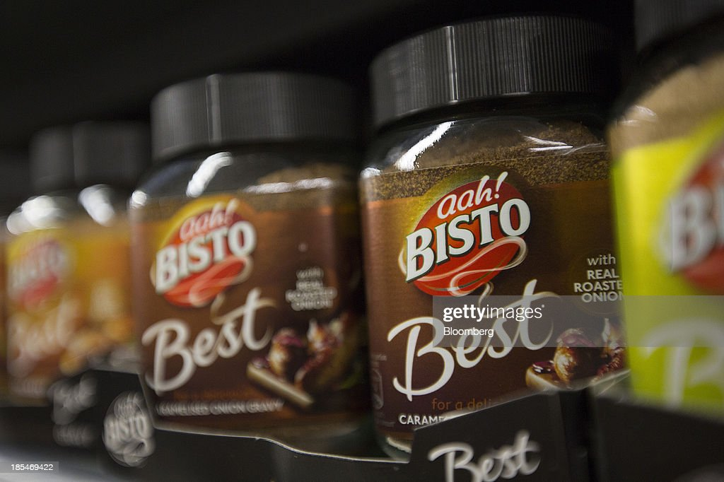 Tubs of Bisto gravy granules, produced by Premier Foods Plc, sit displayed for sale inside an Asda supermarket, the U.K. retail arm of Wal-Mart Stores Inc., in Watford, U.K., on Thursday, Oct. 17, 2013. U.K. retail sales rose more than economists forecast in September as an increase in furniture demand led a rebound from a slump the previous month. Photographer: Simon Dawson/Bloomberg via Getty Images