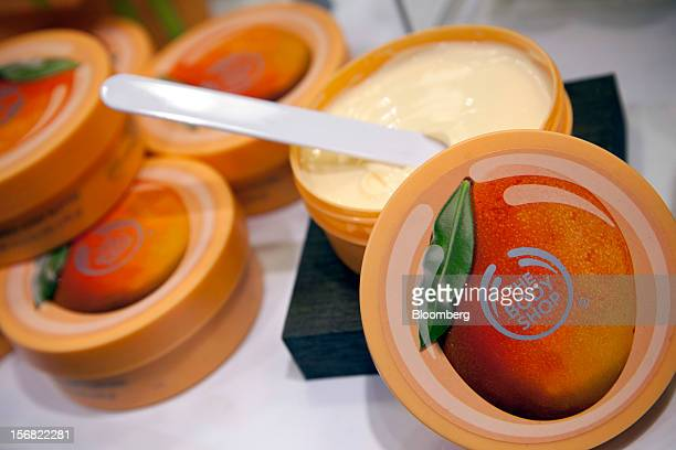 Tubs of Body Shop Mango Body Butter are seen on display at a store in Paris France on Wednesday Nov 21 2012 Body Shop International Plc Chief...
