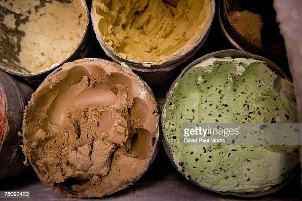 Tubs of ice cream are displayed at Swensen's Ice Cream shop on July 5 2007 in San Francisco California The California Department of Food and...