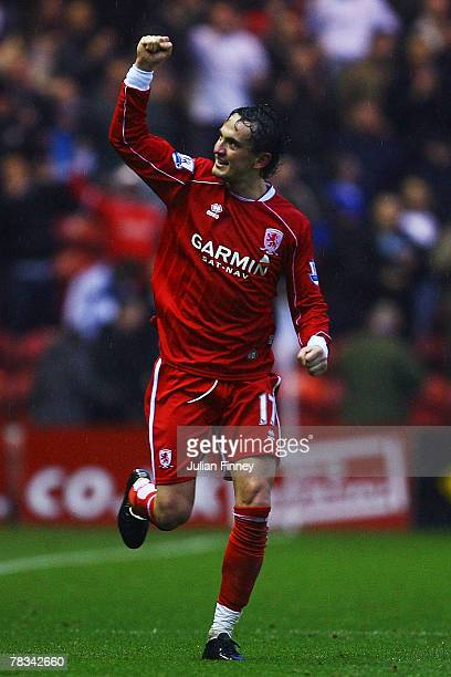 Tucay Sanli of Middlesbrough celebrates scoring their second goal during the Barclays Premier League match between Middlesbrough and Arsenal at the...