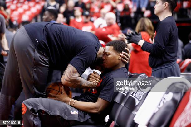 Tucker and Kyle Lowry of the Toronto Raptors embrace before the game against the Milwaukee Bucks during Game Two of the Eastern Conference...