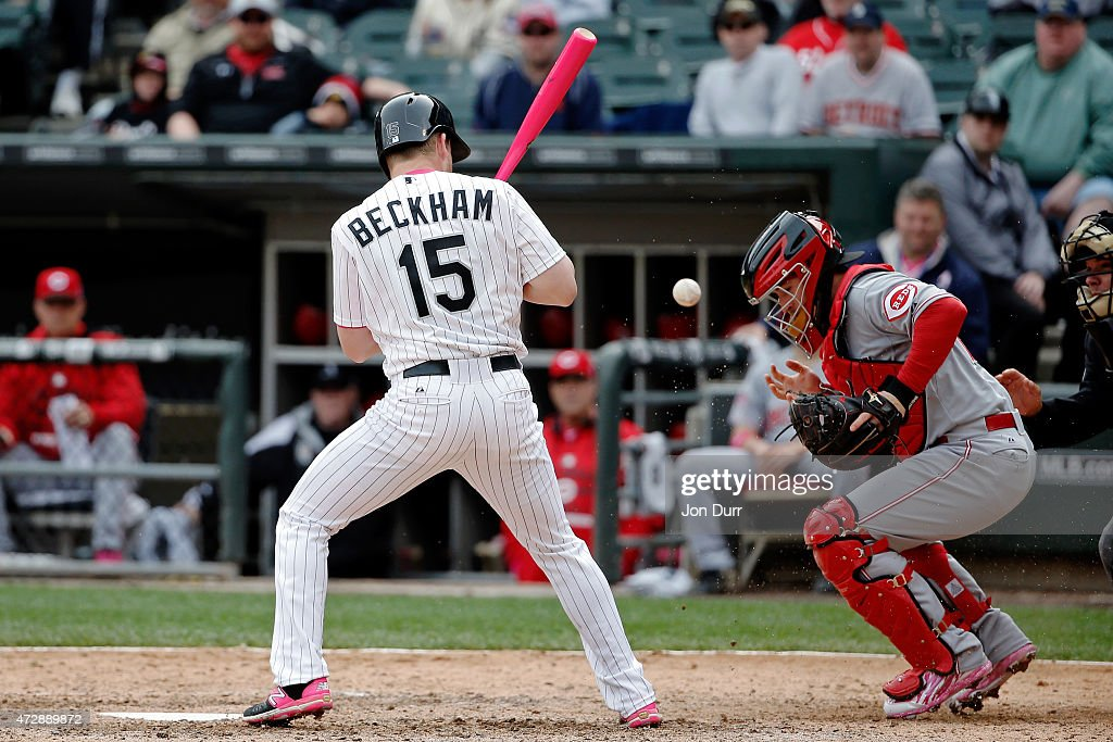 Tucker Barnhart #16 of the Cincinnati Reds is unable to catch a pitch by Aroldis Chapman #54 (not pictured) during the ninth inning while Gordon Beckham #15 of the Chicago White Sox is at bat on May 10, 2015 at U.S. Cellular Field in Chicago, Illinois. The Chicago White Sox won 4-3.