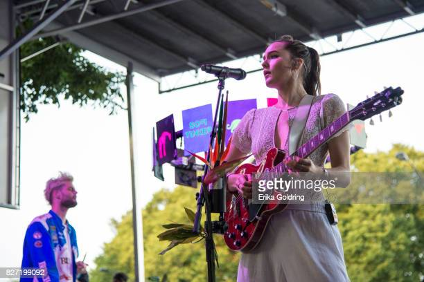 Tucker Halpern and Sophie HawleyWeld of Sofi Tucker perform during Lollapalooza at Grant Park on August 6 2017 in Chicago Illinois