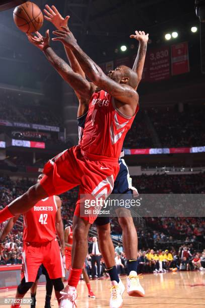 Tucker of the Houston Rockets goes to the basket against the Denver Nuggets on November 22 2017 at the Toyota Center in Houston Texas NOTE TO USER...