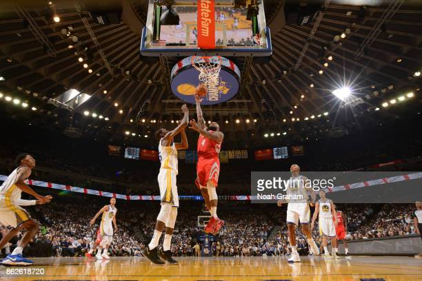 Tucker of the Houston Rockets goes to the basket against the Golden State Warriors on October 17 2017 at ORACLE Arena in Oakland California NOTE TO...