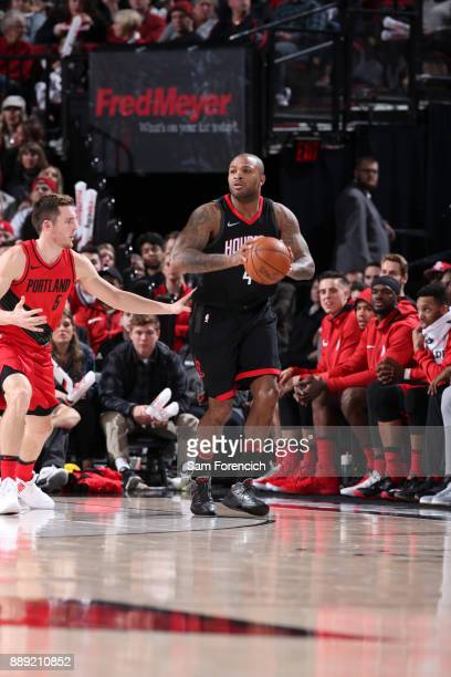 Tucker of the Houston Rockets handles the ball against the Portland Trail Blazers on December 9 2017 at the Moda Center in Portland Oregon NOTE TO...