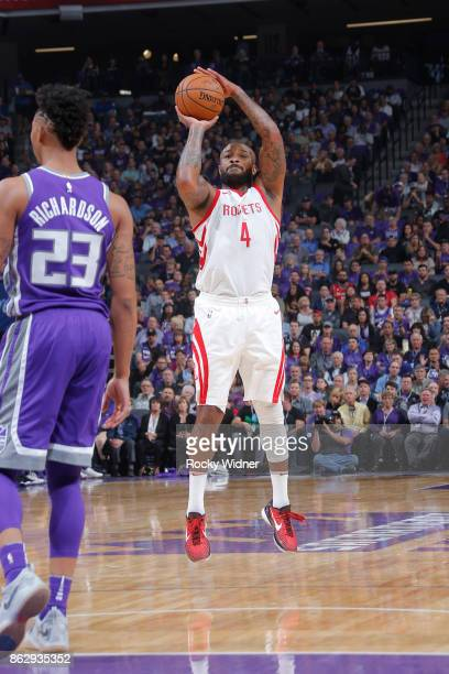 Tucker of the Houston Rockets shoots the ball against the Sacramento Kings during the game on October 18 2017 at Golden 1 Center in Sacramento...