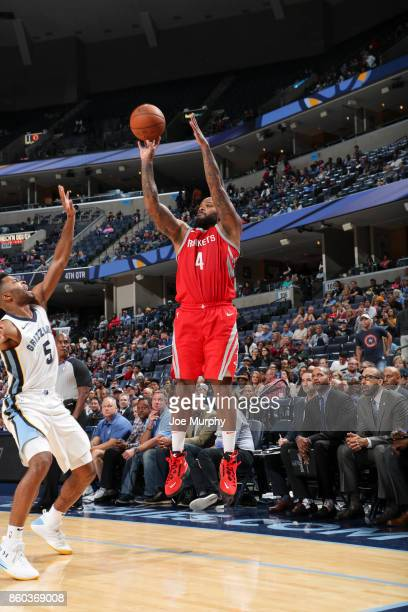 Tucker of the Houston Rockets shoots the ball during a preseason game against the Memphis Grizzlies on October 11 2017 at FedExForum in Memphis...