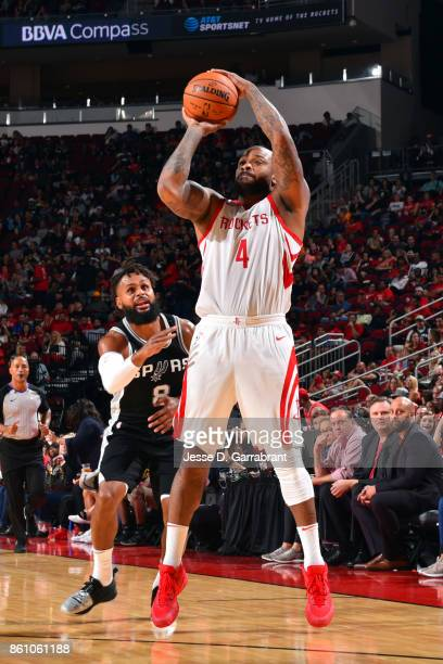Tucker of the Houston Rockets shoots the ball during the preseason game against the San Antonio Spurs on October 13 2017 at Toyota Center in Houston...