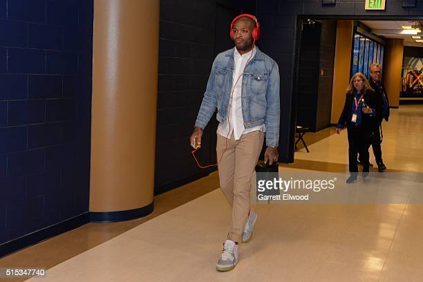 J Tucker of the Phoenix Suns arrives before the game against the Denver Nuggets on March 10 2016 at the Pepsi Center in Denver Colorado NOTE TO USER...