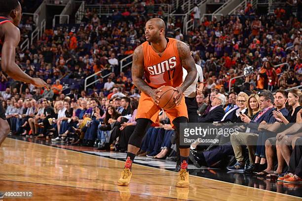 J Tucker of the Phoenix Suns defends the ball against the Portland Trail Blazers during the game on October 30 2015 at Toyota Center in Houston Texas...
